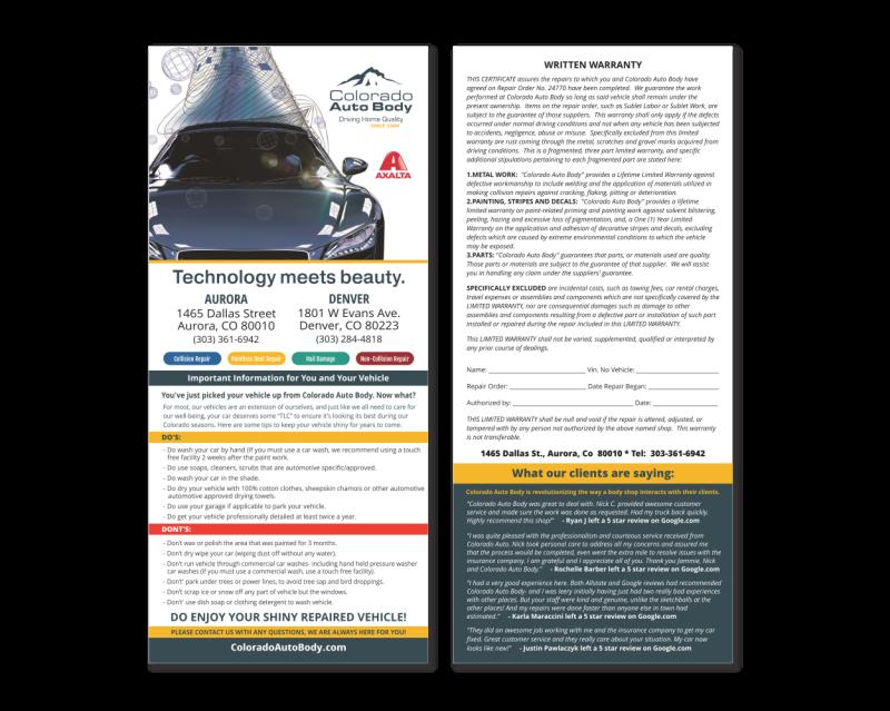 Colorado Auto Body Rackcard