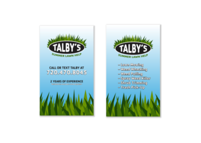 Talby's Lawn Service Business Cards